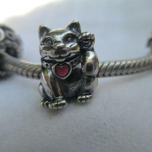 Pandora Lucky Cat Charm 925 ALE Pink Enamel